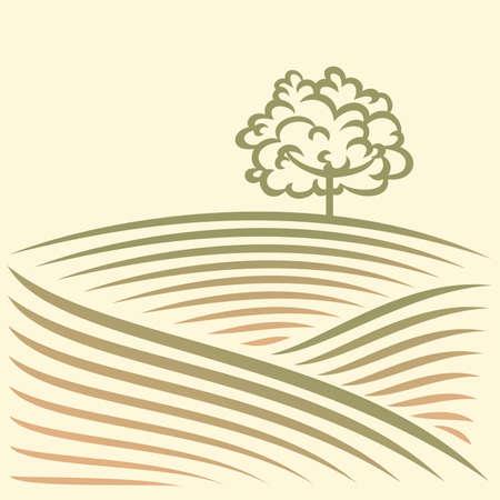 champ de mais: Paysage rural avec des champs et des arbres Illustration