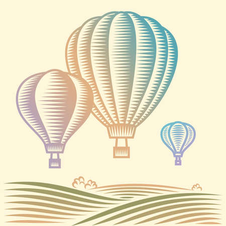 mid air: Globos que vuelan en el cielo sobre el campo Vectores