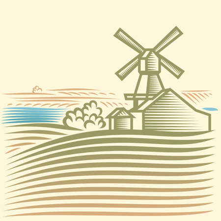 tranquil scene on urban scene: Rural landscape with Windmill Illustration