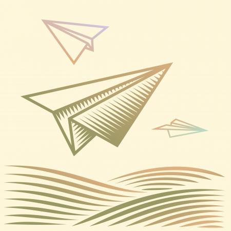 papierflugzeug: Paper planes �ber das Feld Illustration