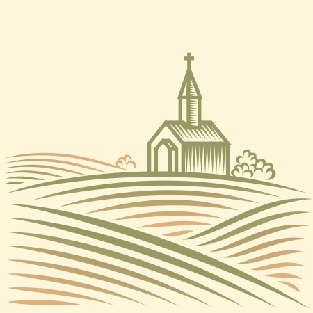 church worship: Rural landscape with fields and church