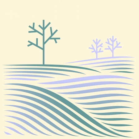 winter rural landscape with fields and tree Illustration