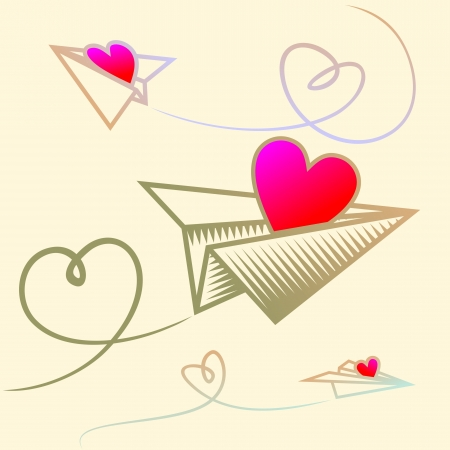 Paper planes in the sky with heart Stock Vector - 17469497