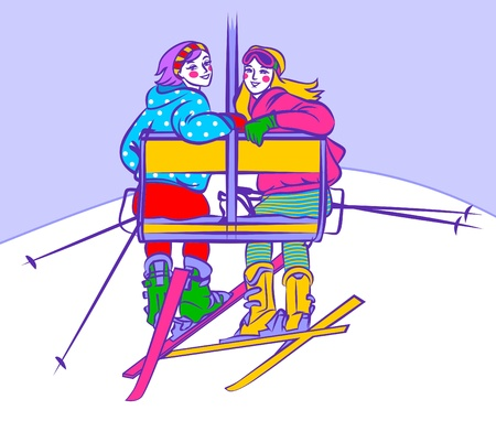 Girls on ski lift Vector