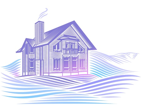 wooden country house in winter Stock Vector - 17469500