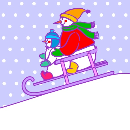 snowmen on sled Vector