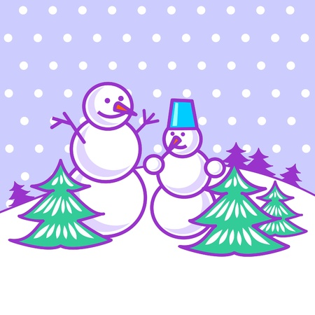 Snowmen between trees Illustration