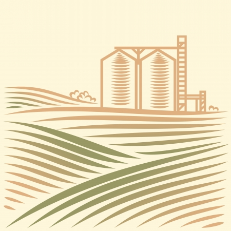 valley: landscape with one Grain Elevator Illustration