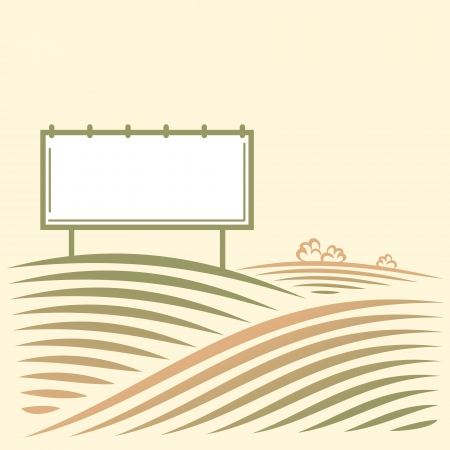 Landscape with empty billboard for your advertise in a field