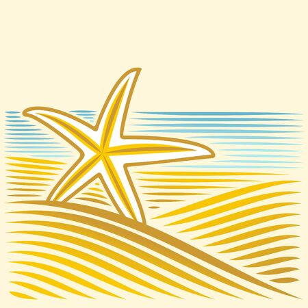 sea shore: Sea landscape with seastar Illustration