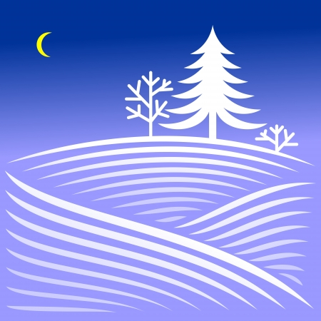 Rural winter evening landscape with spruce Stock Vector - 24027907