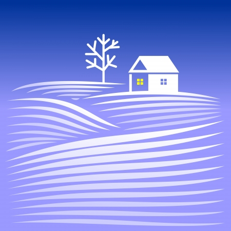 Rural winter evening landscape with snow-covered hills and home Stock Vector - 24027913