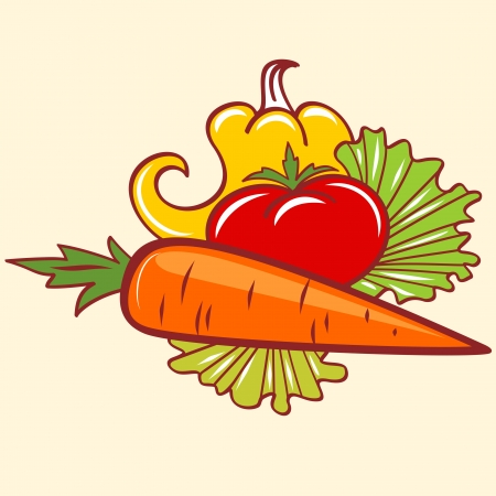 pepper tomato and carrot Illustration