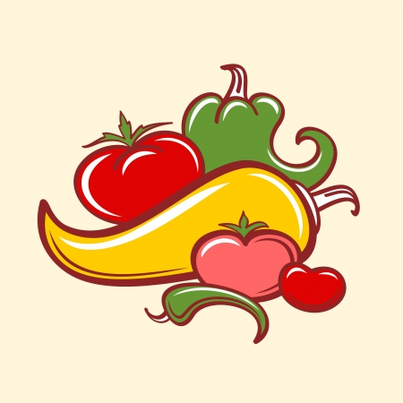 peppers and tomatoes  イラスト・ベクター素材