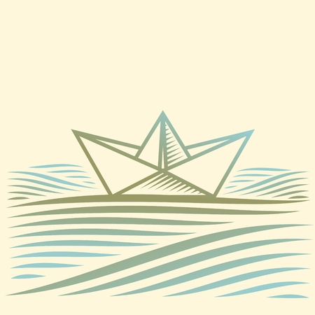 paper boat sailing on water with waves  イラスト・ベクター素材