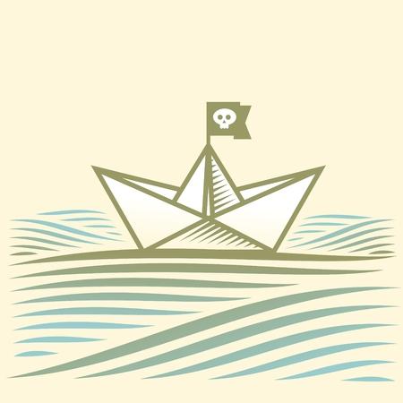 convoy: pirata barca a vela di carta su acqua con le onde Vettoriali
