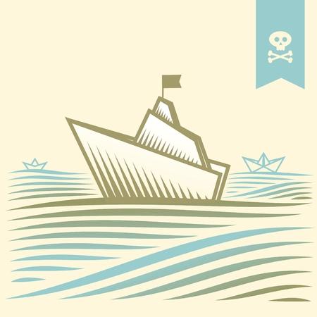 pirate boat: landscape with pirate paper boat