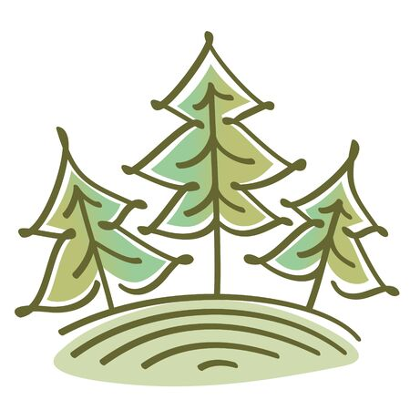forestry: three abstract green spruce trees on the hill. Graphic linear vector landscape