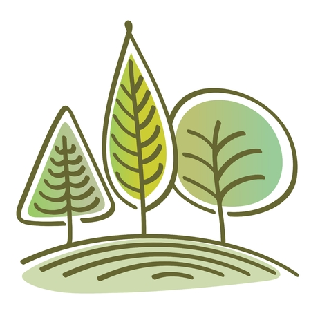 three abstract green trees on the hill. Graphic linear vector landscape