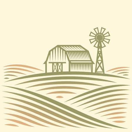 Agriculture Landscape with Barn and Wind Turbine Illustration