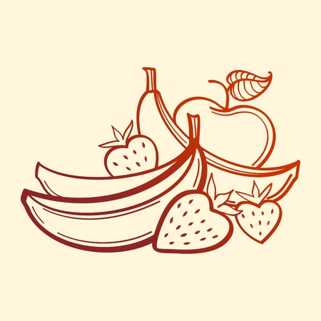 Vector Fruits. Bananas, strawberry and apple. line art