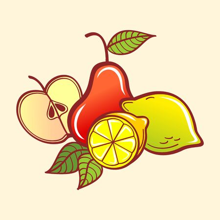 Vector Fruits. Apple, pear and lemons