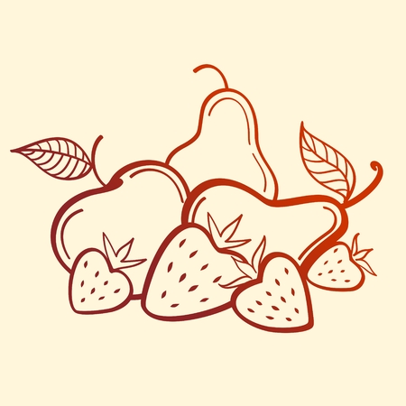Vector Fruits. Strawberry, apple and pear. line art Illustration
