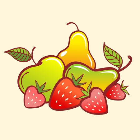 half apple: Vector Fruits. Strawberry, apple and pear