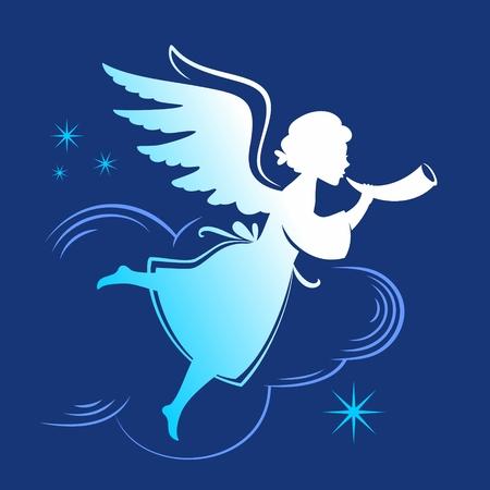 Het silhouet van de engel met hoorn vliegen in de wolken Stockfoto - 34480968