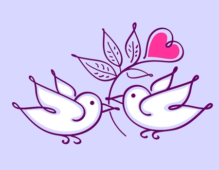 Pair of lovebirds with heart flower isolated on violet background. Wedding card / valentine card.