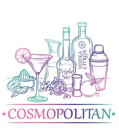 likeur: Cocktail Cosmopolitan met ingrediënten citrus wodka sinaasappellikeur cranberry cranberry sap oranje limoenen en barman39s instrumenten Stock Illustratie