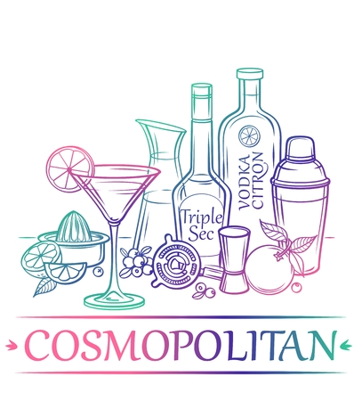 shakers: Cocktail Cosmopolitan with ingredients citrus vodka orange liqueur cranberry cranberry juice orange limes and barman39s instruments