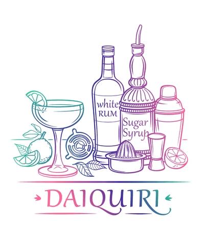 재료 럼, 설탕 시럽 라임 barman39s 악기와 칵테일 다이 키리 일러스트