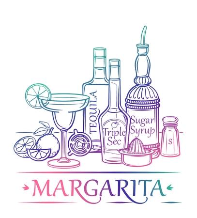 likeur: Cocktail Margarita met ingrediënten tequila sinaasappellikeur suikersiroop limoenen zout en barman39s instrumenten