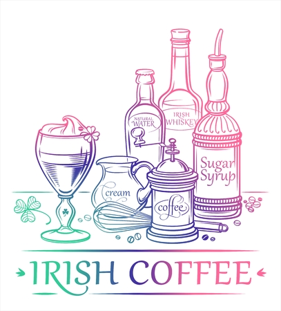 Cocktail Irish Coffee with ingredients Irish Whiskey sugar syrup water coffee cream and barman39s instruments Illustration