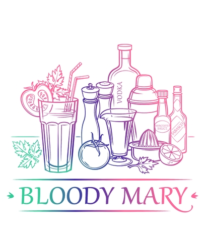 Cocktail Bloody Mary with ingredients