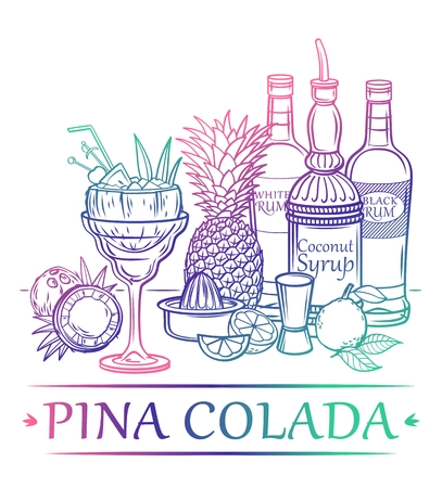 Cocktail Pina Colada with ingredients white and black rum coconut syrup coconut pineapple lime pineapple leaves ice and barman39s instruments