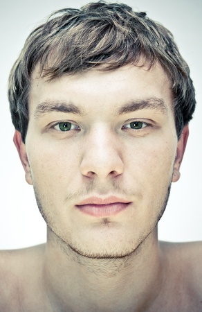 male face  on a white background photo