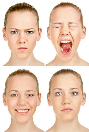 woman screaming: collage of expressive emotions a woman Stock Photo