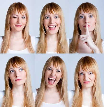 Young woman with multiple face expressions photo