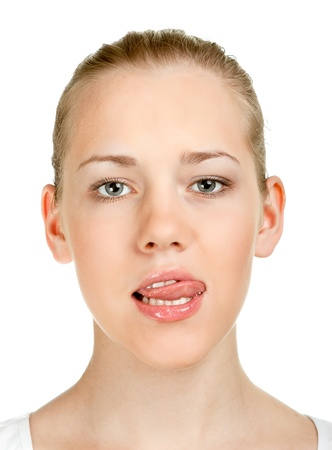 Cute girl shows tongue Stock Photo - 11322129