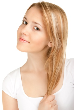 only teenagers: Beautiful young smiling woman Stock Photo