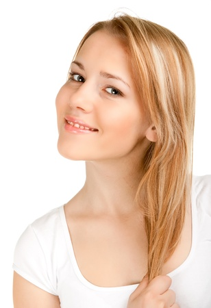 blond brown: portrait of a fresh and beautiful young woman Stock Photo