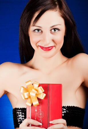 girl holding a gift box Stock Photo - 11322141
