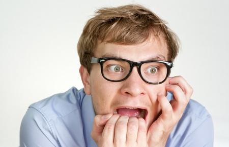 nerveux: gestionnaire peur rongeant ses ongles Banque d'images