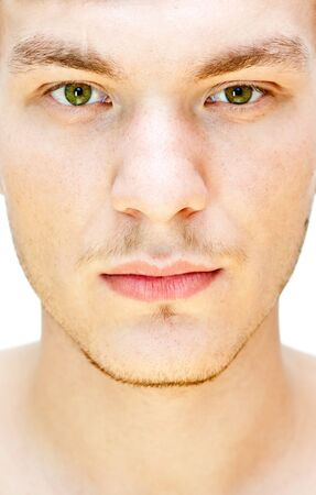 man face close up: male face  on a white background