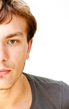 man face close up: half a man