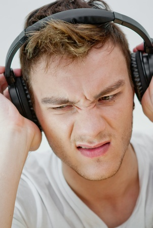 Man with headphones listening to music photo