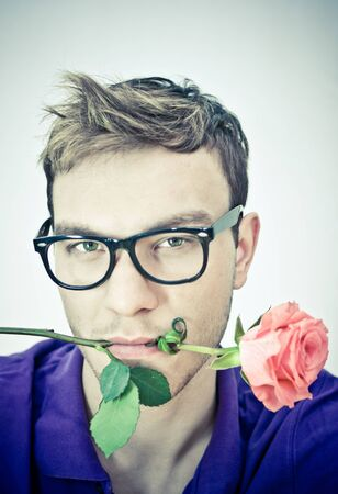 funny man with  flower photo