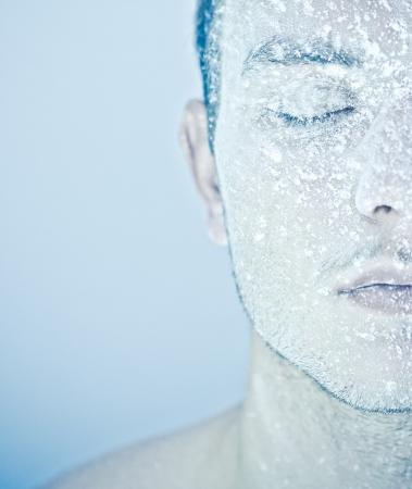 half nude: frozen man Stock Photo